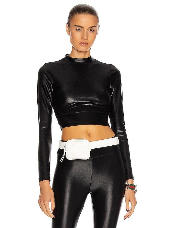 Luca Infinity Long Sleeve Crop Top in Black
