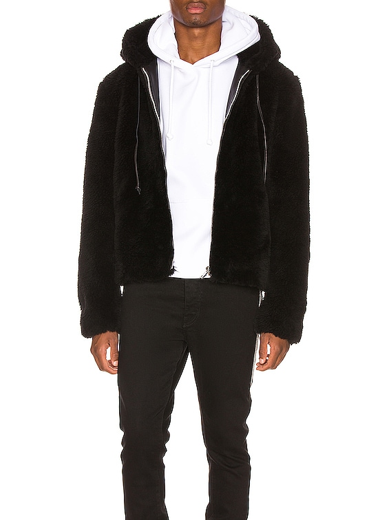 Faux Fur Long Hair Wool Hoodie in Black