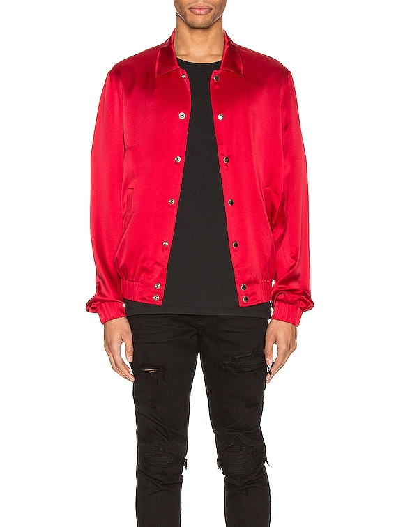 Silk Bomber Jacket in Blood Red