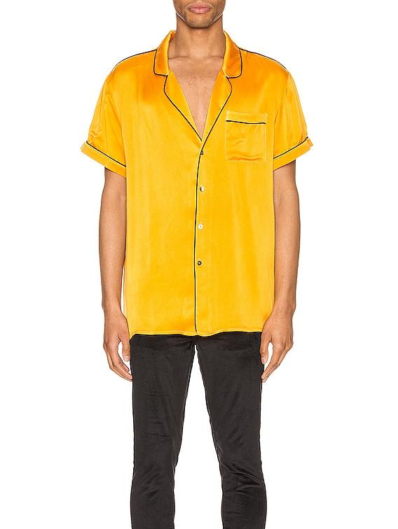 Silk Pajama Shirt in Golden Yellow