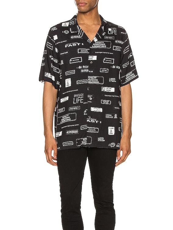 You Have Been Warned Resort Short Sleeve Shirt in Black