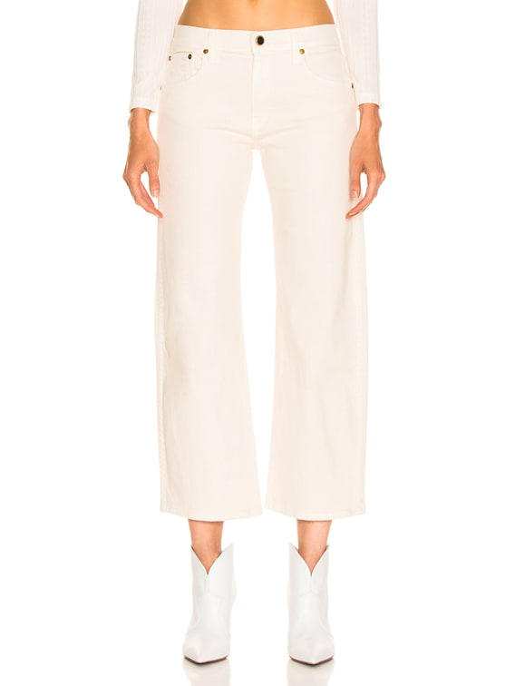 Wendell Cropped Wide Leg Jean in Ivory