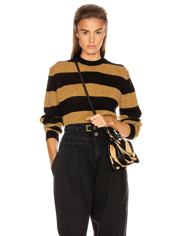 Viola Crewneck Pullover Sweater in Black & Fawn Stripe