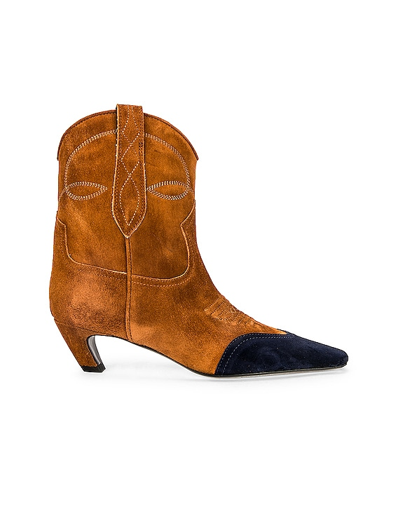 Dallas Ankle Boots in Caramel & Midnight