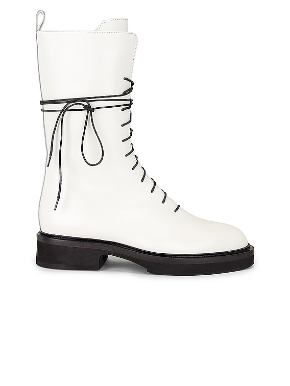 Conley Lace Up Combat Boots in White