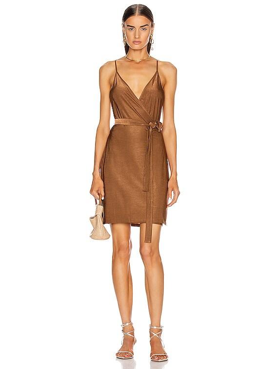 Tate Wrap Dress in Copper