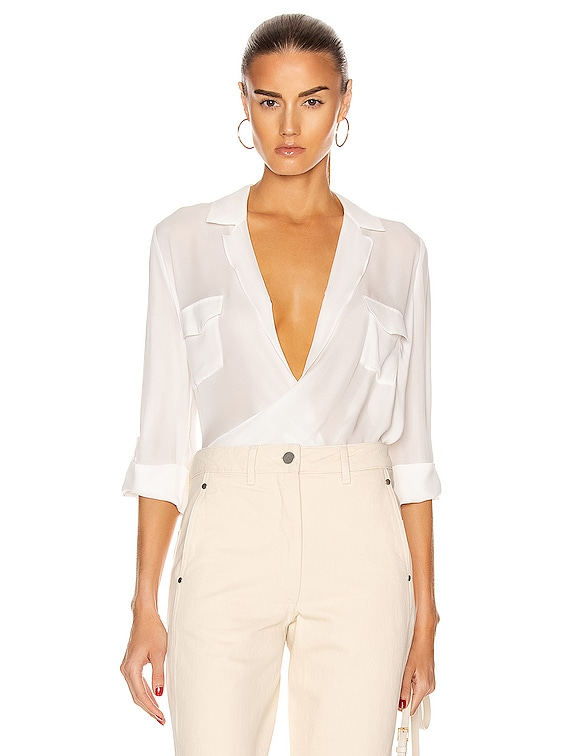 Phoenix Front Wrap Tunic Blouse in Ivory