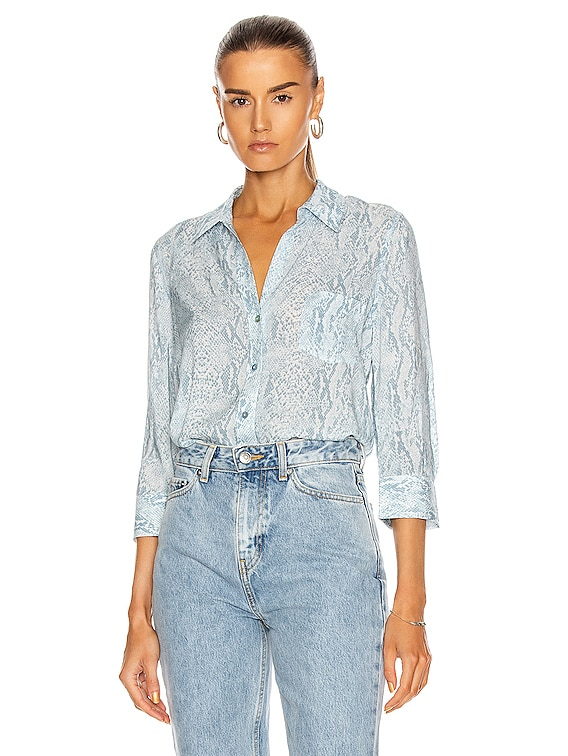 Ryan 3/4 Sleeve Blouse in Cool Blue & Ivory
