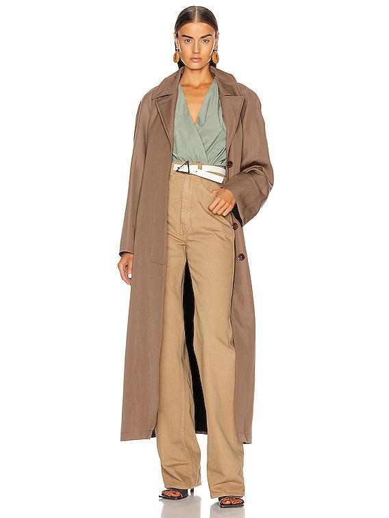 Tie Coat in Kraft Brown