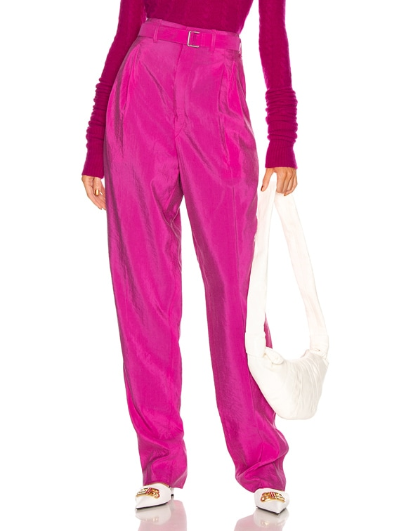 Pleated Belted Pant in Fuchsia