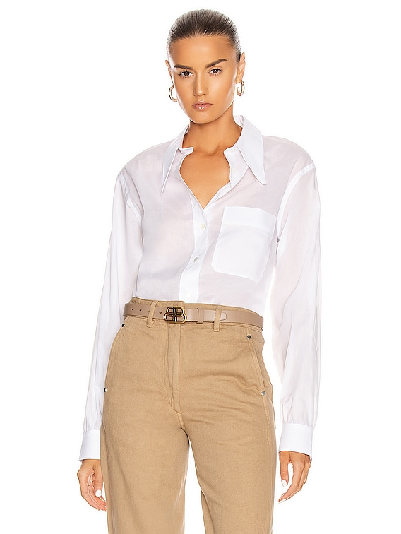 Pointed Collar Top in White