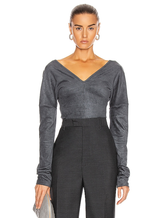 Long Sleeve Bodysuit in Anthracite