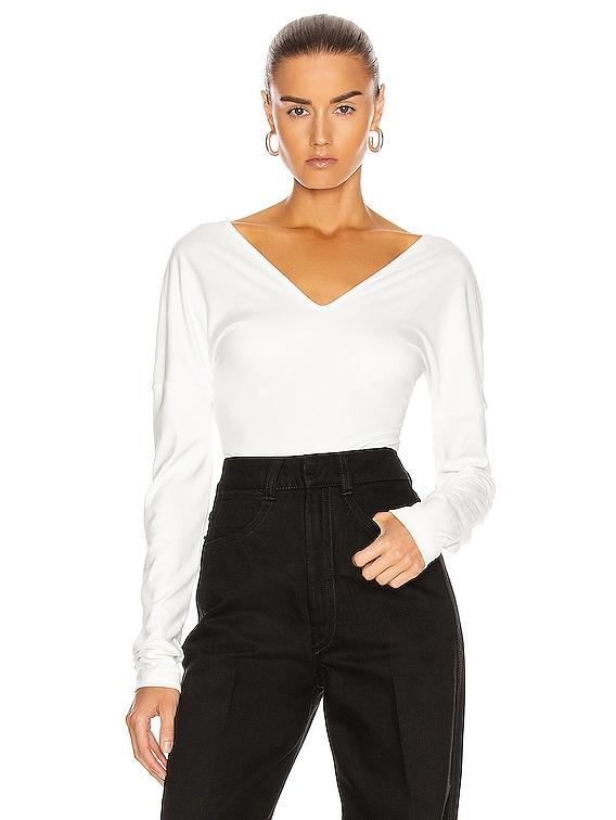 Long Sleeve Bodysuit in Off White