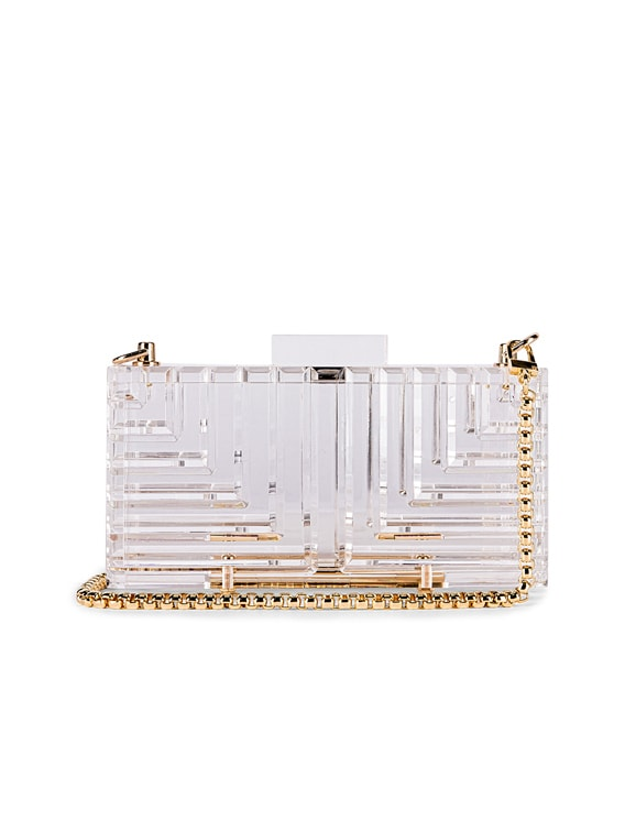 Bag with Gold Hardware in Clear With Gold Link