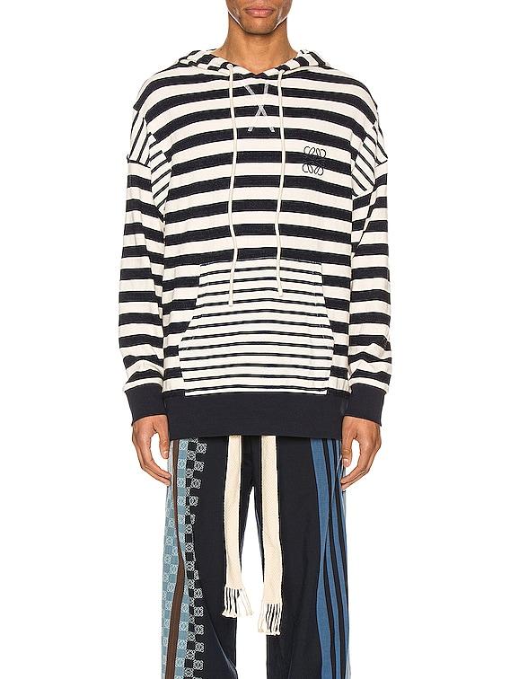 Stripe Hoodie in Ecru & Navy Blue