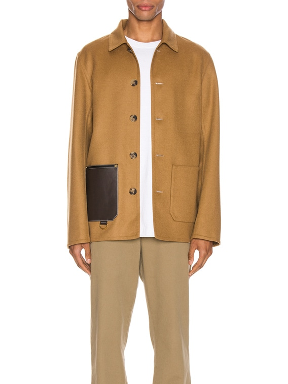 Button Jacket Patch Pockets in Camel
