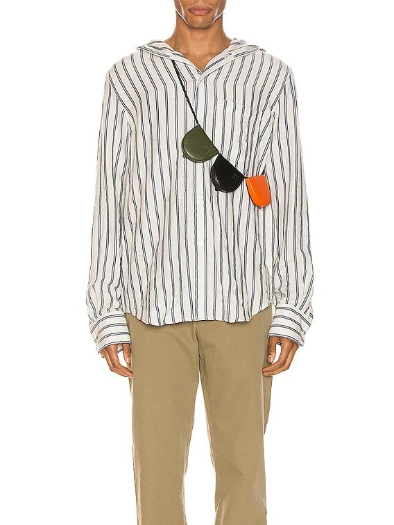 Hooded Stripe Shirt in White & Blue