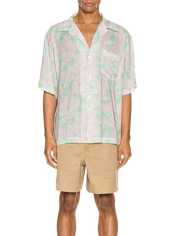 Daisy Print Bowling Shirt in Pink & Light Green