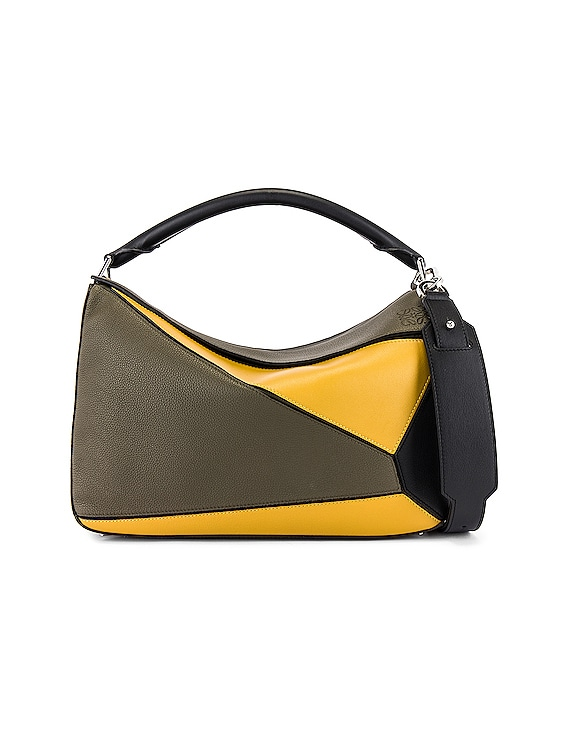 Puzzle Large Bag in Khaki Green & Ochre