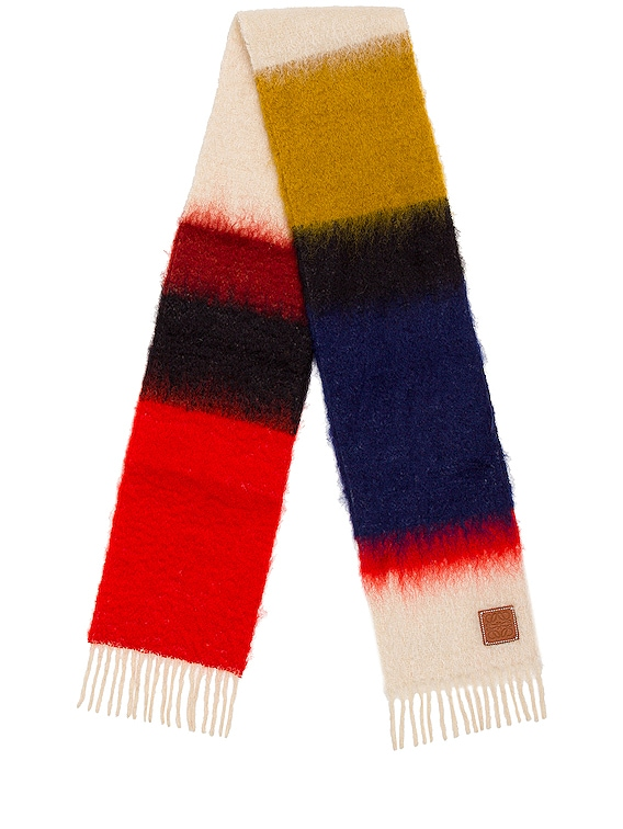 Mohair Stripes Scarf in Red & Multicolour