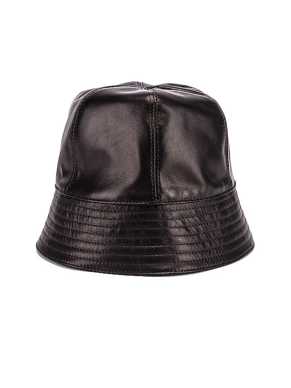 Leather Bucket Hat in Black