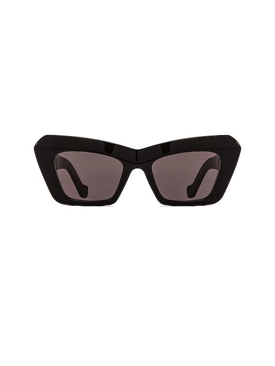 Acetate Cateye Sunglasses in Shiny Black & Smoke