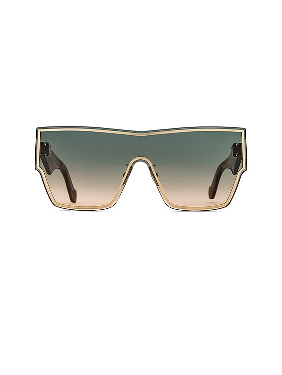 Large Mask Sunglasses in Gold & Gradient Green