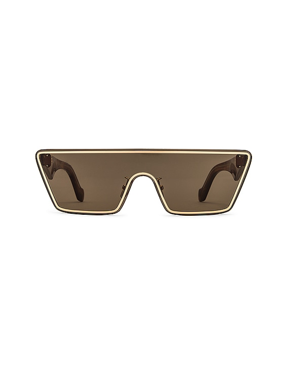 Small Mask Sunglasses in Gold & Green