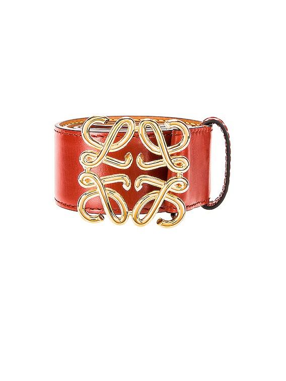 Anagram Belt in Burnt Red & Gold