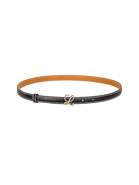 L Buckle Belt in Black & Gold