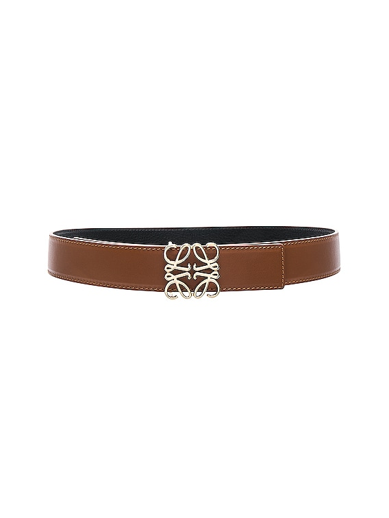 Anagram Belt in Tan, Black & Gold