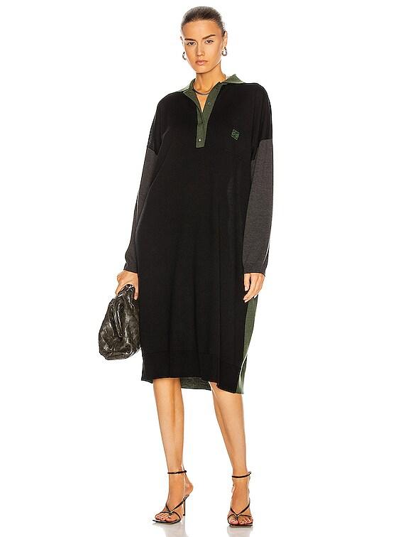 Oversize Polo Neck Dress in Black & Khaki Green