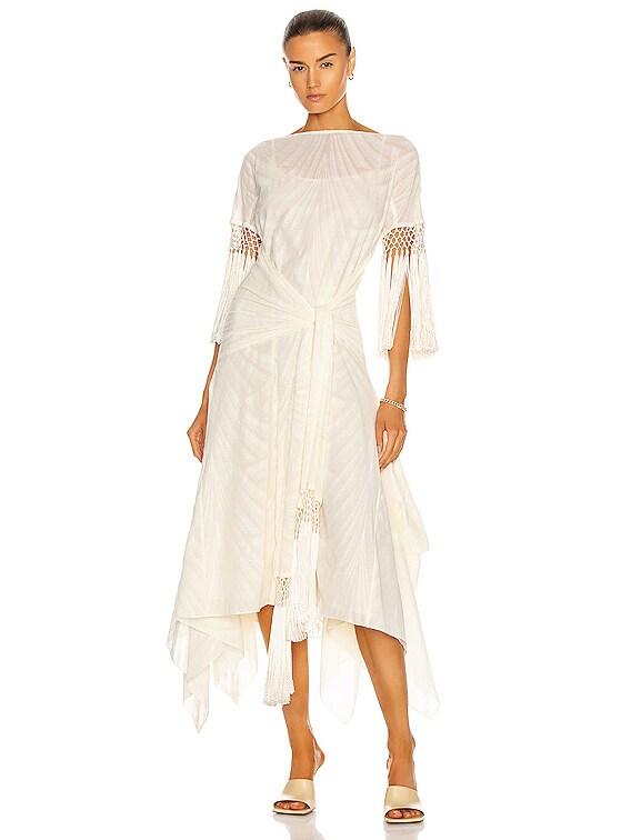 Scarf Fringed Dress in Ivory & White
