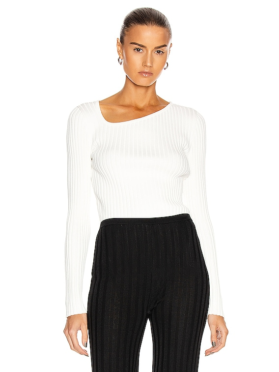 Ribbed Asymmetric Collar Sweater in White