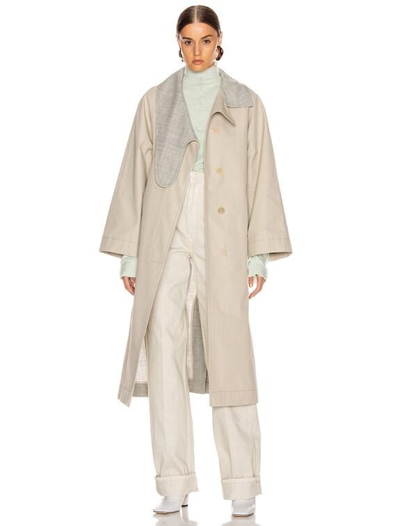 Long Asymmetrical Collar Coat in Beige & Grey
