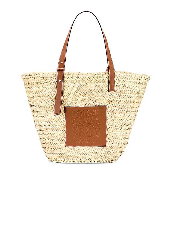 Large Basket Bag in Natural & Tan