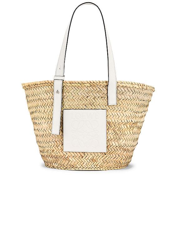 Basket Bag in Natural & White