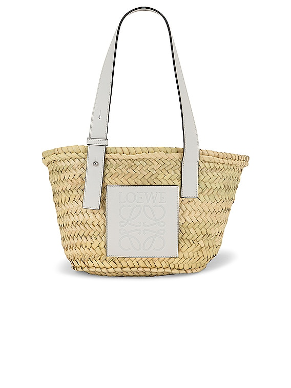 Basket Small Bag in Natural & White