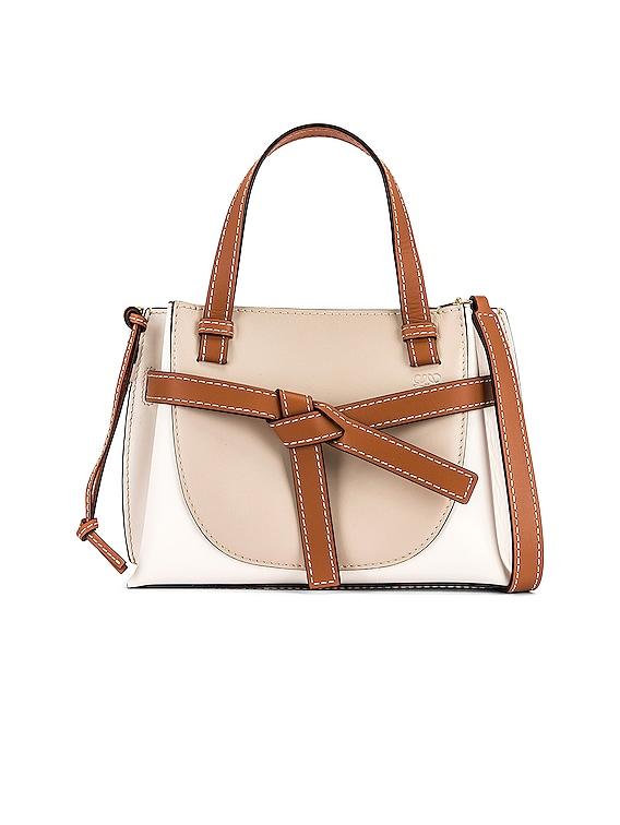 Gate Top Handle Mini Bag in Light Oat & Soft White