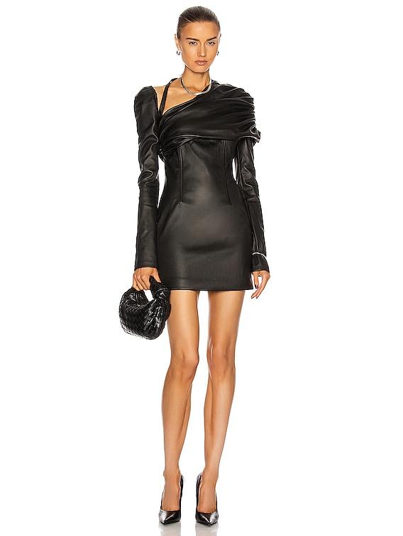 Ruched Shoulder Leather Dress in Black