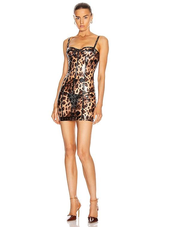 Bustier Dress in Cheetah Vinyl