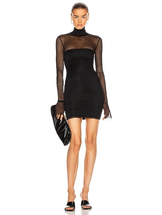Mesh Mock Neck Dress in Black