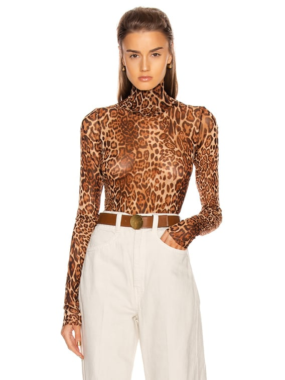 Animalia Bodysuit in Leopard Natural