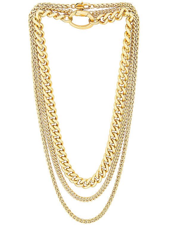 for FWRD Presa, Curb, and Wheat Chain Necklace Set in Gold