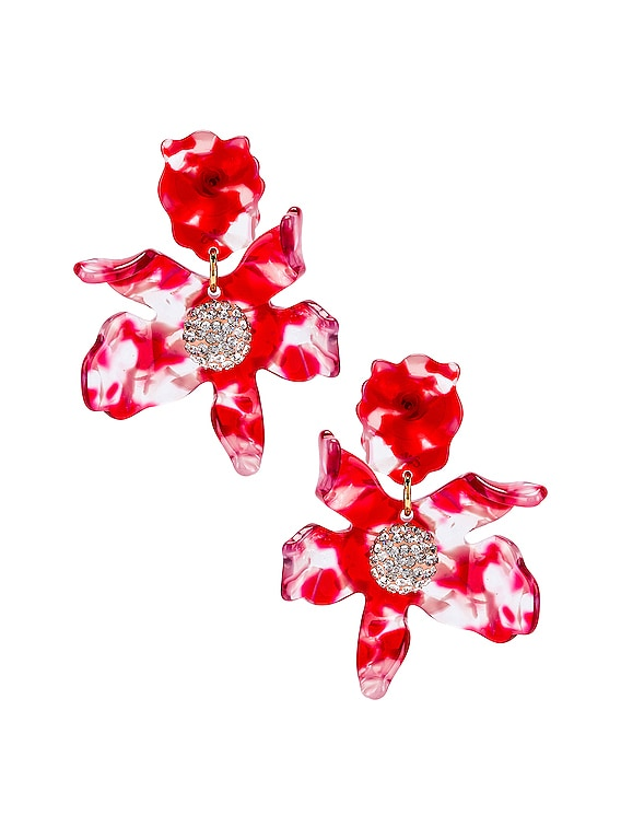 Small Crystal Lily Earrings in Cherry