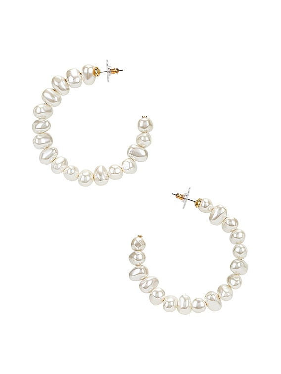 Jelly Bean Hoop Earrings in Ivory Pearl