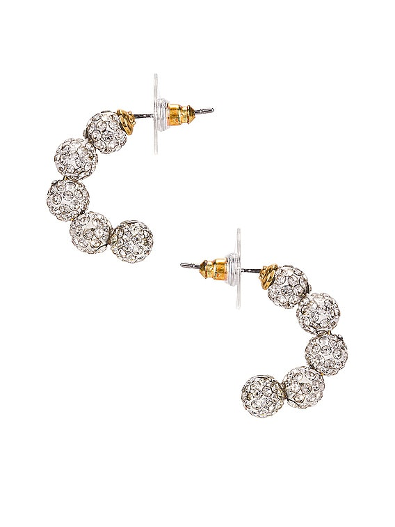 Crystal Huggie Hoop Earrings in Crystal