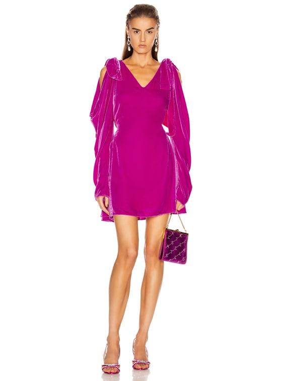 Bow Shoulder Velvet Mini Dress in Fuchsia Velvet