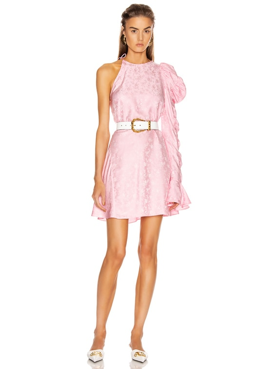 x FWRD Asymmetrical Puff Sleeve Dress in Rose Pink