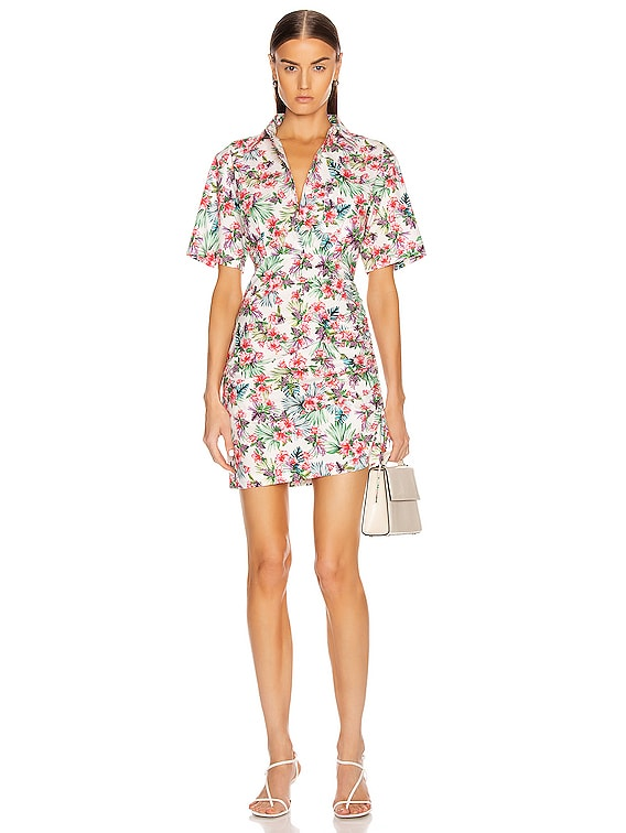 Ruched Skirt Cotton Shirt Dress in Hibiscus White